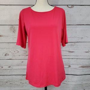 Susan Graver solid pink liquid knit slinky shirt